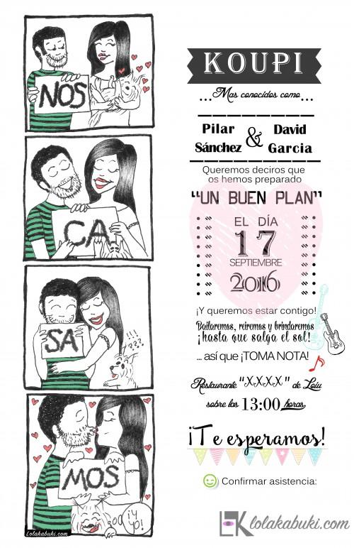 INVITACIÓN BODA TIPO CÓMIC