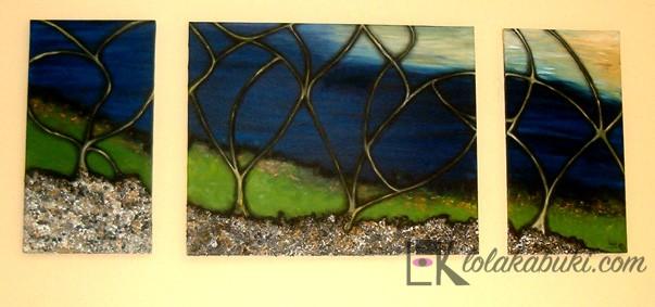 triptico numero ocho paisaje naturaleza oleo lienzo