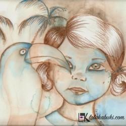 """""""Retrato de niña con tucán"""" por Lola Kabuki"""