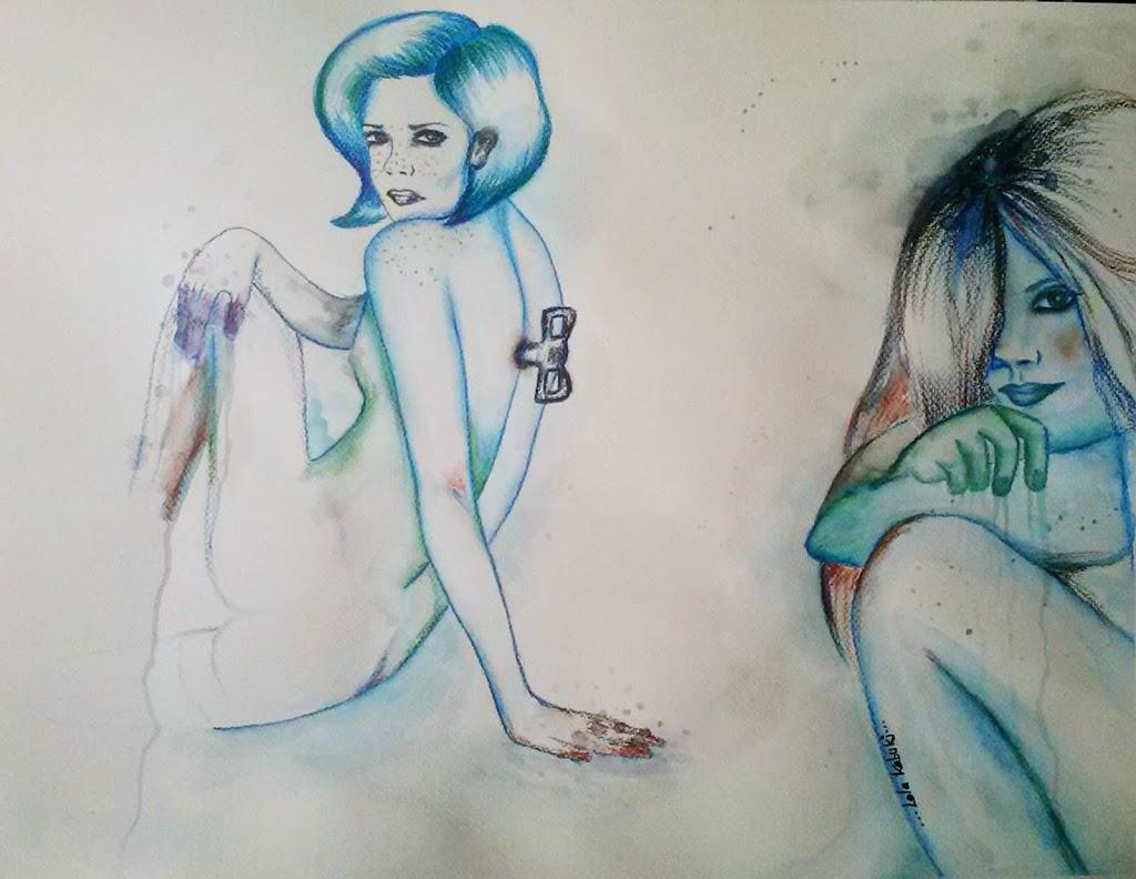 """Acuarela sobre papel. Colección """"Rutinas"""" por Lola Kabuki."""