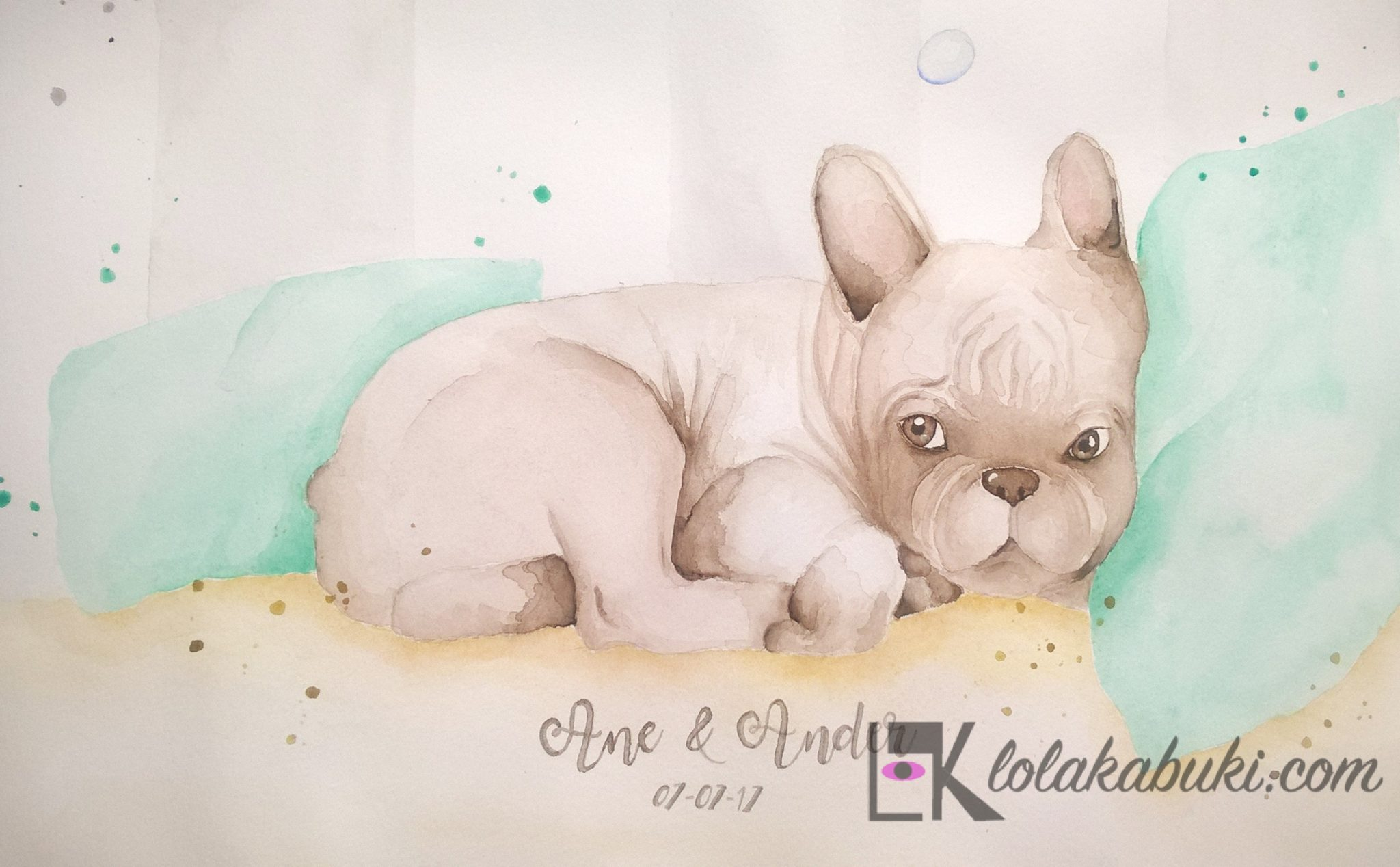 pintura de huellas mascotabulldog frances lola kabuki detalle (2)