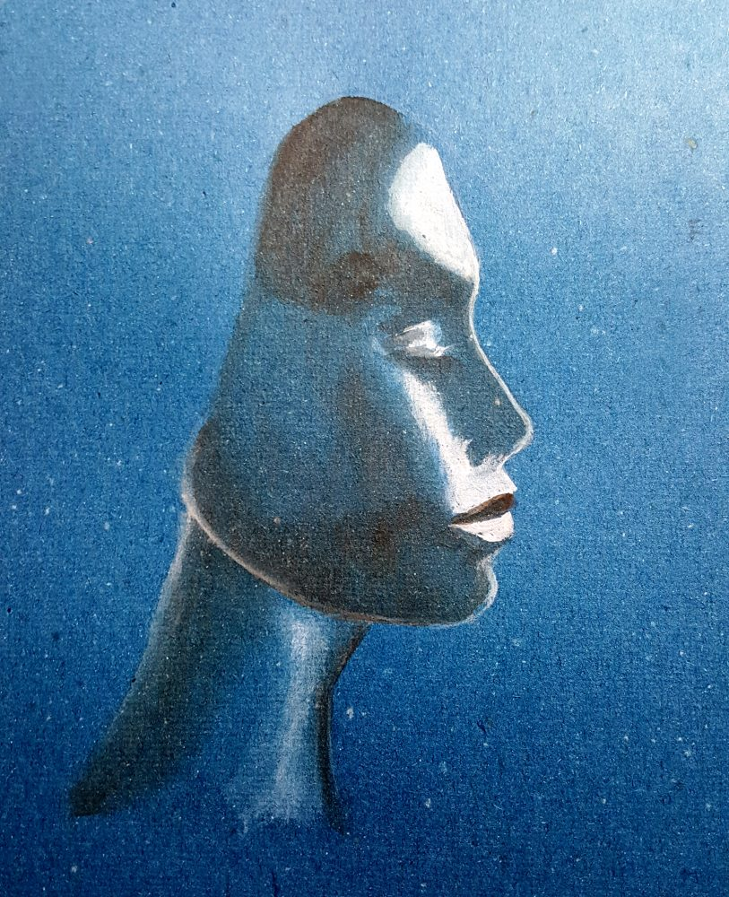 Perfil de mujer en tonos azules