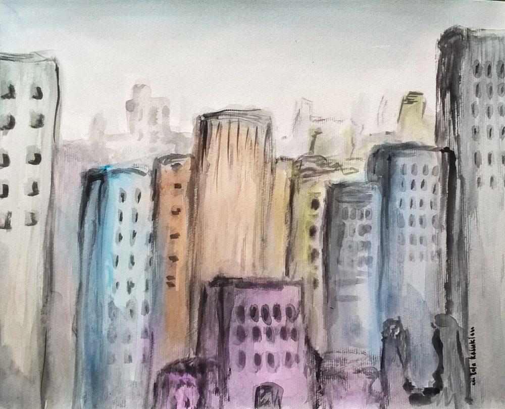 Ciudad con rascacielos de colores